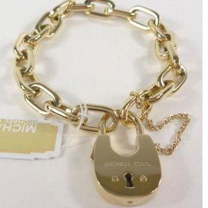 Michael Kors Gold Tone Padlock Chain Bracelet NWT